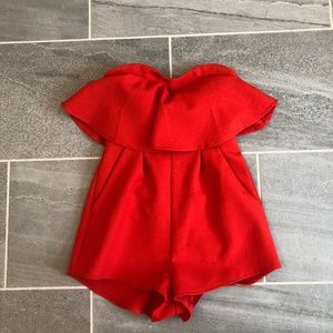 L'atiste Red Strapless Romper